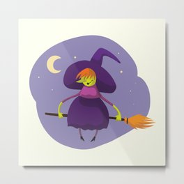 Friendly witch flying on broom Metal Print