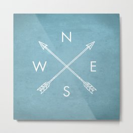 Compass Art Print, NSEW Art Print, Farmhouse Decor, Country Decor, Arrows, Crossed Arrows, Arrow Art Print, Kids Room Art Print, NSEW, Compass Directions, NSEW Poster, Ice Blue, Compass Metal Print