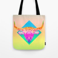 bull Tote Bags featuring Bull  by Anders Teigene