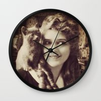 thundercats Wall Clocks featuring Mary Pickford - Vintage Lady with kitten by Augustinet