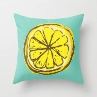 lemon Throw Pillows featuring lemon by Marzipan