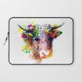 Hand drawn bull, cow, bison, buffalo head face portrait with horns. Colorful cattle painting sketch Laptop Sleeve