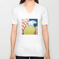 patriotic V-neck T-shirts featuring Patriotic Eagle by whiterabbitart