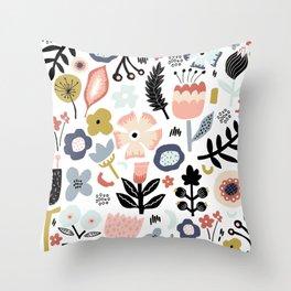 Naive Floral Scandinavian Design Throw Pillow