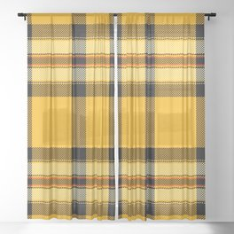 Argyle Fabric Plaid Pattern Autumn Colors Yellow and Black Sheer Curtain