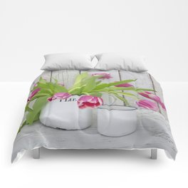 pink spring tulip still life country style Comforters