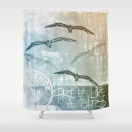 Free Like A Bird Seagull Mixed Media Art Shower Curtain