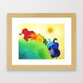 Elephant Rainbow Framed Art Print