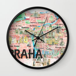 Prague Czech Republic Illustrated Map with Landmarks and Highlights Wall Clock