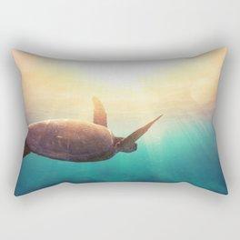 Sea Turtle - Underwater Nature Photography Rectangular Pillow