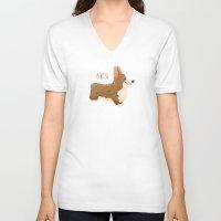 corgi V-neck T-shirts featuring Corgi by 52 Dogs