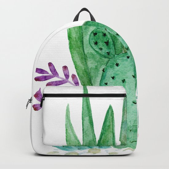 Cacti and succulents . Watercolor . Backpack
