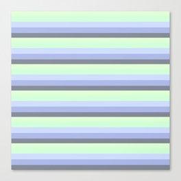 Pastel Blue Green Gray stripeS Canvas Print