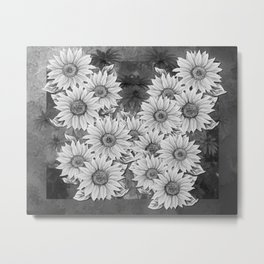 Watercolor Sunflower Pattern (Black and White) Metal Print