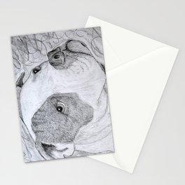 American Bulldog Portrait Drawing Stationery Cards