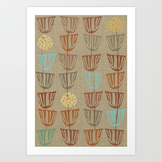 Pods and Seeds 2 on Linen Revised Art Print
