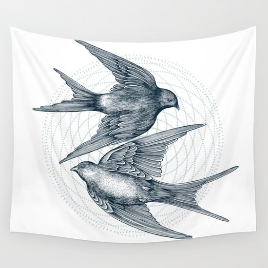Two Swallows Wall Tapestry
