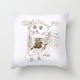 Weird Owl - BW Throw Pillow
