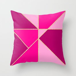 Modern color block pink neon pastel gold stripes Throw Pillow