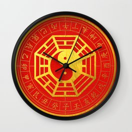 Golden Bagua Feng Shui Symbol on Faux Leather Wall Clock