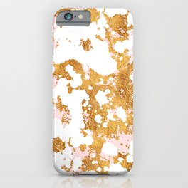White Marble With Touch of Pink & Gold Veins iPhone Case