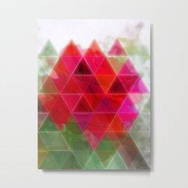 Red Rose Edges Art Triangles 1 Metal Print