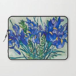 Iris Bouquet in Chinoiserie Vase on Blue and White Striped Tablecloth on Painterly Mint Green Laptop Sleeve