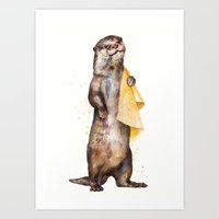 Art Prints featuring otter by Laura Graves