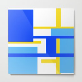 Rectangles - Blues, Yellow and White Metal Print
