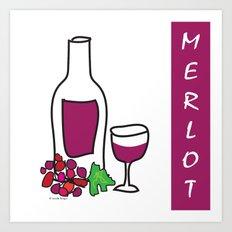 Merlot Wine Art Print