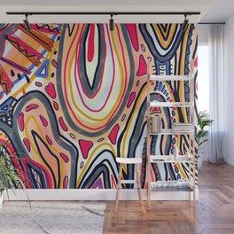 Desert Sun Abstract Geometric Art Wall Mural