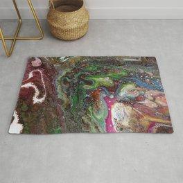 Fluid Acrylic VI - Original, abstract, textured fluid pour painting Rug