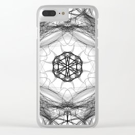 Star Light Mandala Black & White Clear iPhone Case