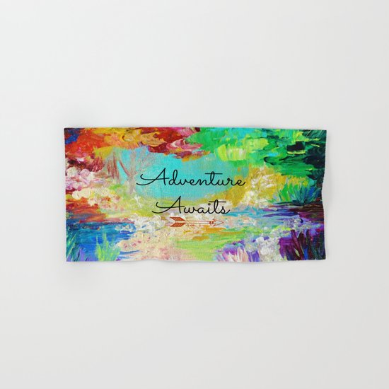 ADVENTURE AWAITS Wanderlust Typography Explore Summer Nature Rainbow Abstract Fine Art Painting Hand & Bath Towel