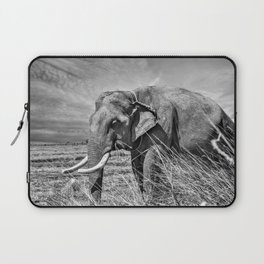 12,000pixel - 500dpi, High Quality Photograph - African Elephant II - Black and white Laptop Sleeve