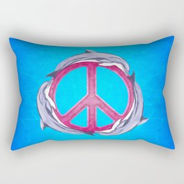 Dolphin Peace Pink Rectangular Pillow