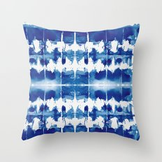 Shibori Tie Dye Indigo Blue Throw Pillow