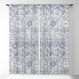 William Morris Navy Blue Botanical Pattern 6 Sheer Curtain