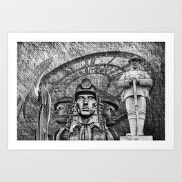 Landmarks 2 Black And White Art Print