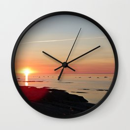 Kayak and the Sunset Wall Clock