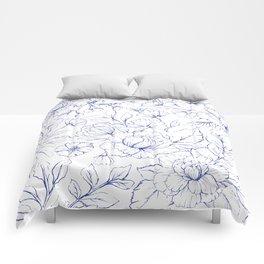 Modern hand drawn navy blue white elegant floral pattern Comforters