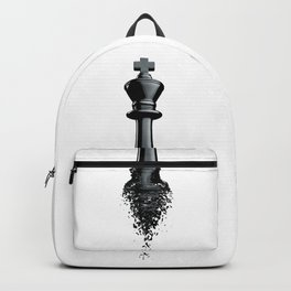 Farewell to the King / 3D render of chess king breaking apart Backpack
