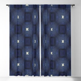 Blue and White Square Pattern Blackout Curtain