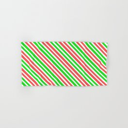Christmas-Inspired Red, White, and Green Colored Lines Pattern Hand & Bath Towel