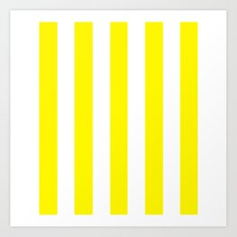 Cadmium yellow - solid color - white vertical lines pattern Art Print