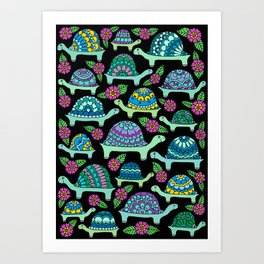 Tortoises Black Art Print