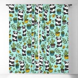 Panda Bear Print, Baby Panda, Blue and Green, Cute Panda Pattern Blackout Curtain