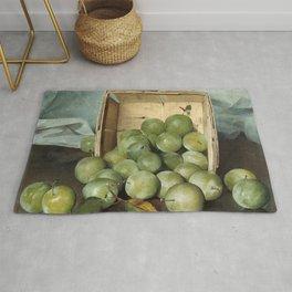 Fruit Still Life Painting - Green Plums - Joseph Decker Rug