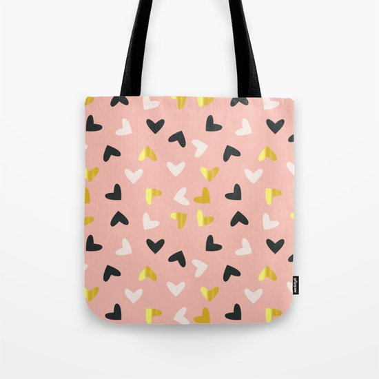 Heart pattern gold and rose Tote Bag
