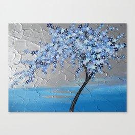 Japanese Style Designs , Blue cherry blossom Canvas Print